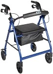 Rollator Walker with Fold Up and Removable Back Support and Padded Seat,in Red, Blue,  Black, Green, Silver