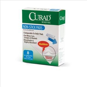 "CURAD Non-Stick Pads, 3""x 4"" (case of 12)"