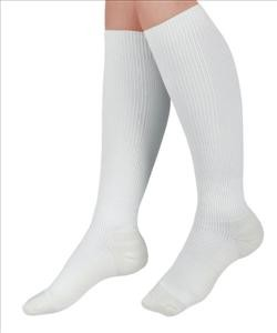 CURAD Knee Length Compression Hosiery 15-20mmHg (White)