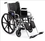 Excel 2000 Wheelchair w/ Permanant Full Length Arms Fixed Footrests (18